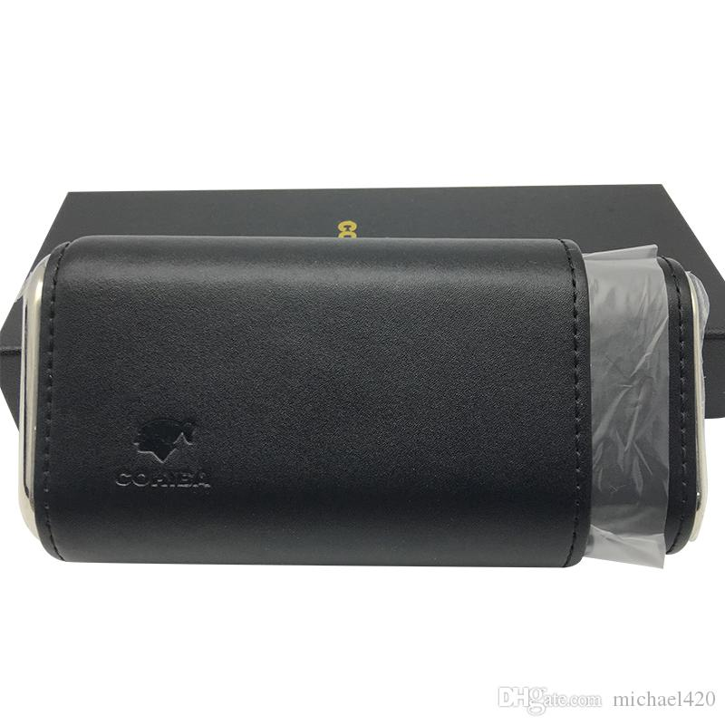 COHIBA Black Leather Cedar Lined Cigar Travel Holder Case 3 Count Portable