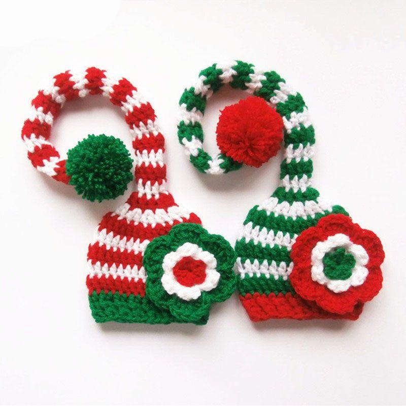 Santa Elf Long Tail Hats for Twins,Handmade Knit Crochet Baby Girl Christmas Striped Pompom Hat,Newborn Toddler Photo Prop