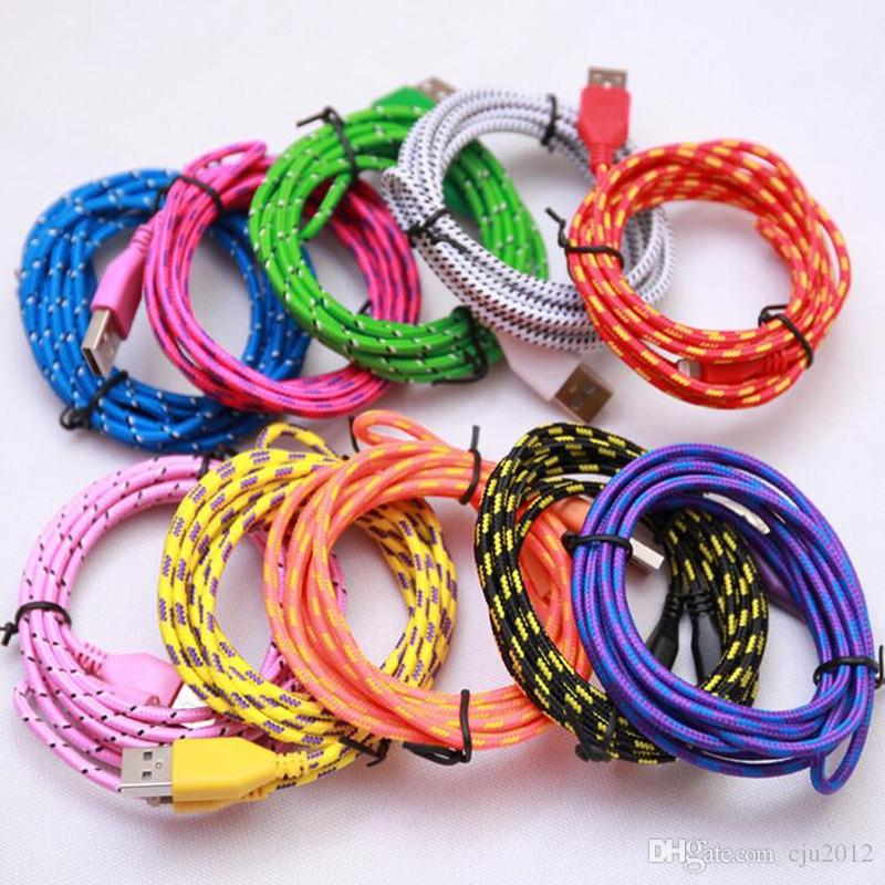 1M 2M 3M Fabric Braided Nylon Sync Cloth Woven Universal Micro USB Cable Cord Extra Long Extension For Samsung HTC 4 5 6