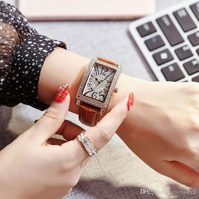 High quality Ladies Watch Women watches Modern Rhinestone Rectangle Dial Leather Strap Quartz wristwatch For girls lady Valentine Gift