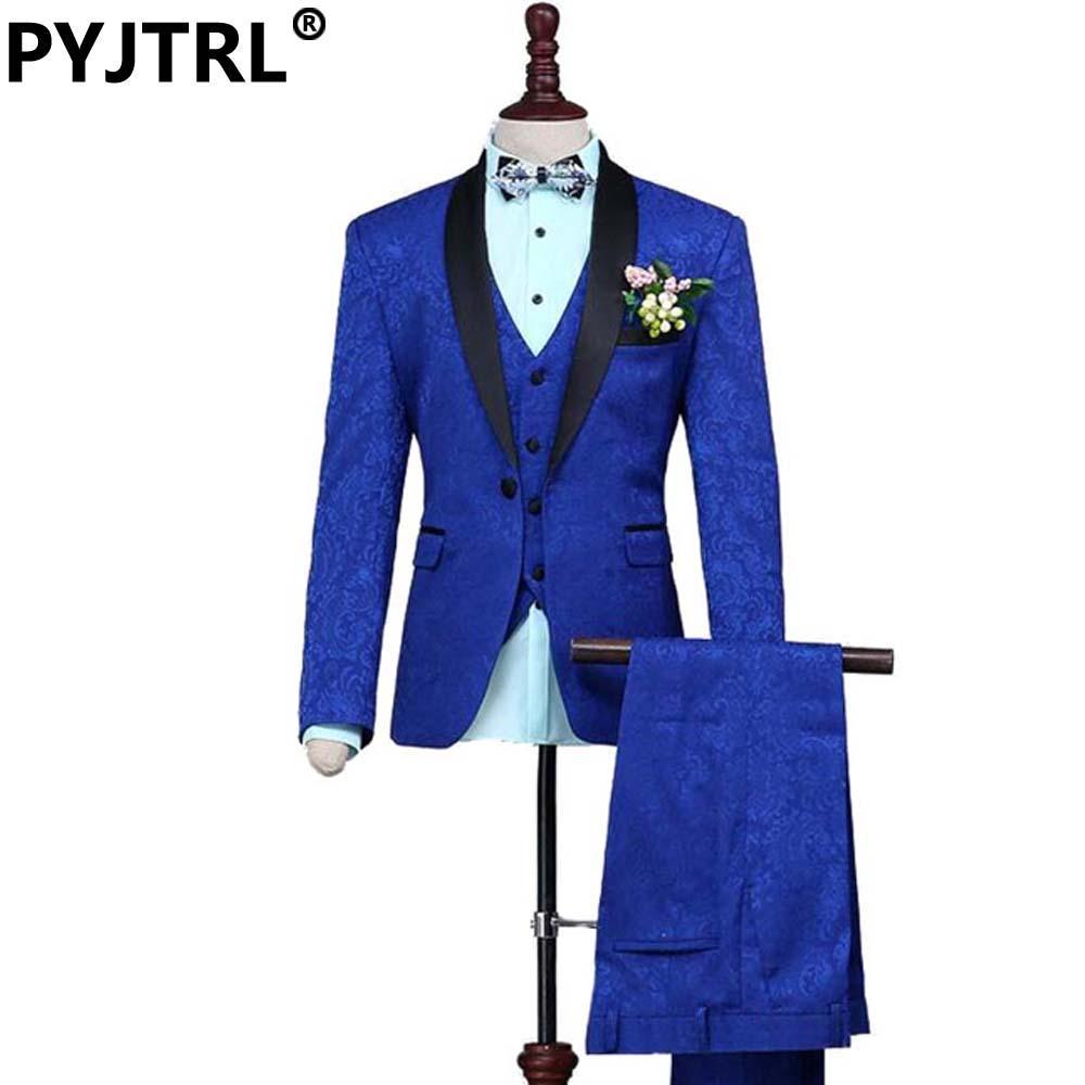 Commercio all'ingrosso- (giacca + pantaloni + giubbotto) New Fashion Groom Wedding Three-Piece Jacquard Weave Suits Royal Blue Mens Suit Brand Abbigliamento