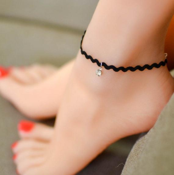 Mode Damen Temperament Spitze Fußkettchen einfache Edelstein Anhänger Fuß Schmuck