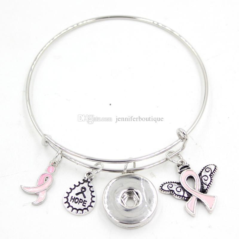 Neue Ankunft Snap Schmuck Hoffnung Band Brustkrebs Awareness Pink Ribbon Angel Wing Charm Erweiterbar Einstellbar Draht Snap Bangles Armband