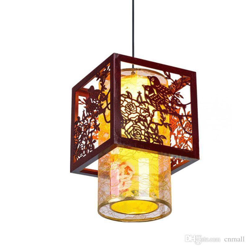 Classic Chinese Style Wooden Pendant Lamp Vintage Dining Room Pendant Light Tea House Hallway Balcony Hanging Lamps