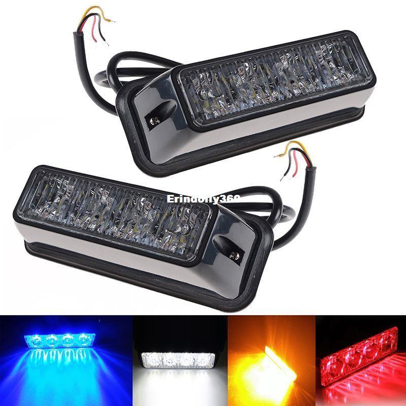 4 LED Car Emergency Beacon Light 12V lampeggiante 4W 12V / 24V Led Strobe Light per Universal Fit Hazard Truck ROSSO Blu Ambra Bianco