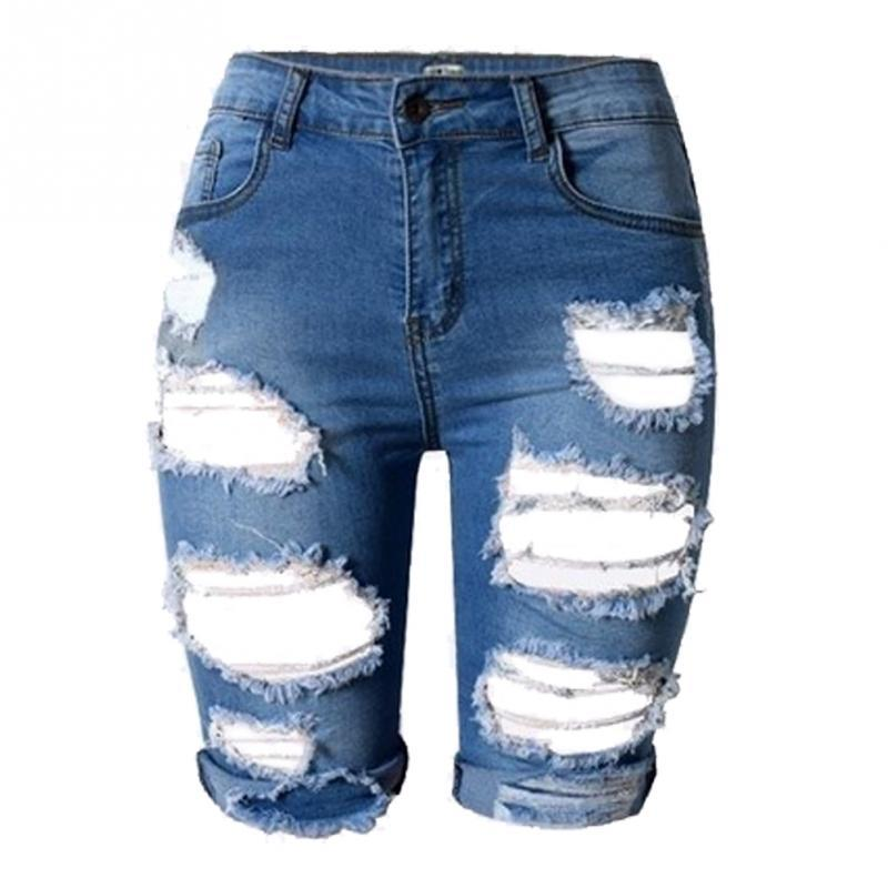 Wholesale- Summer high High Waist Shorts Women Denim Shorts Vintage Streetwear Ripped Short Jeans Worn Hole Female Casual Shorts