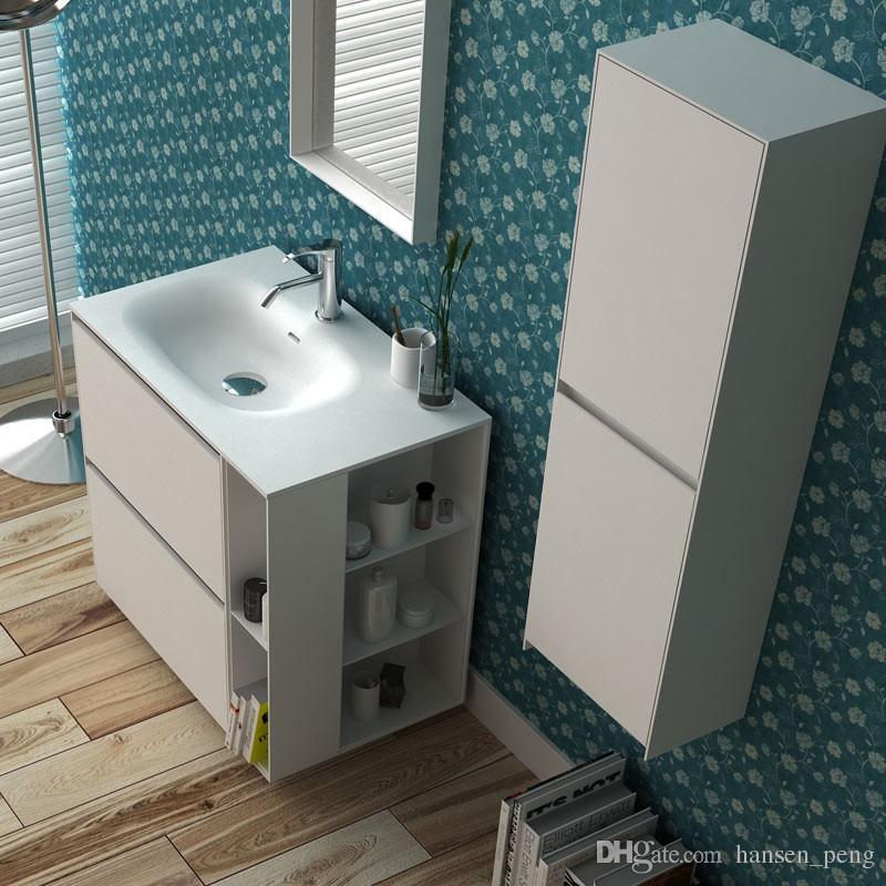 800mm Badmöbel Freistehende Waschtisch Stein Solid Surface Blum Schublade Garderobe Bodenmontage Schrank Lagerung 2945