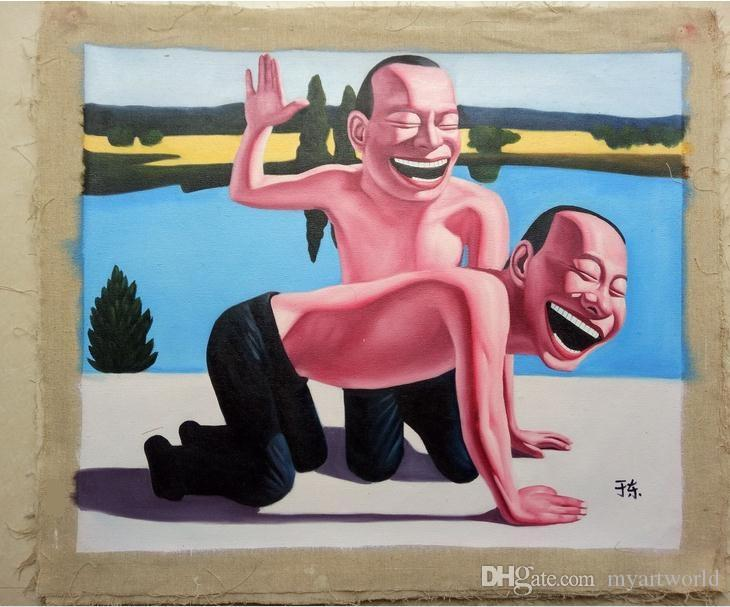 Обрамленное улыбающееся лицо#002, чистая ручная роспись современный настенный декор портрет поп-арт маслом высокое качество холста.Размеры холодопроизводительности доступен