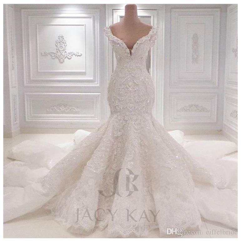 빈티지 Vestido Noiva 레이스 웨딩 드레스 2016 섹시한 깊은 V 목 블링 페르시 크리스탈 자수 인 어 백이없는 채플 신부 가운 봄