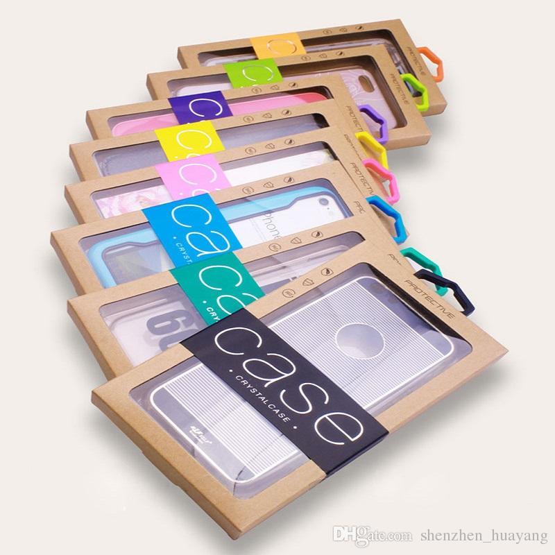 Personalidade colorido Design de Luxo PVC Janela Embalagem Caixa de Papel Pacote de Varejo para o Telefone Celular Caso Pacote de Presente Acessórios DHL