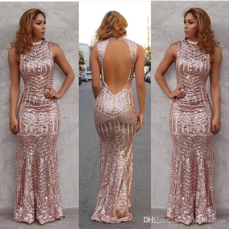 Rose Gold 2019 Sexy Mermaid Prom Dresses High Neck Sequined Open Back Floor  Length Evening Party Gowns Custom Made BA2892 Dresses Online Sexy Prom