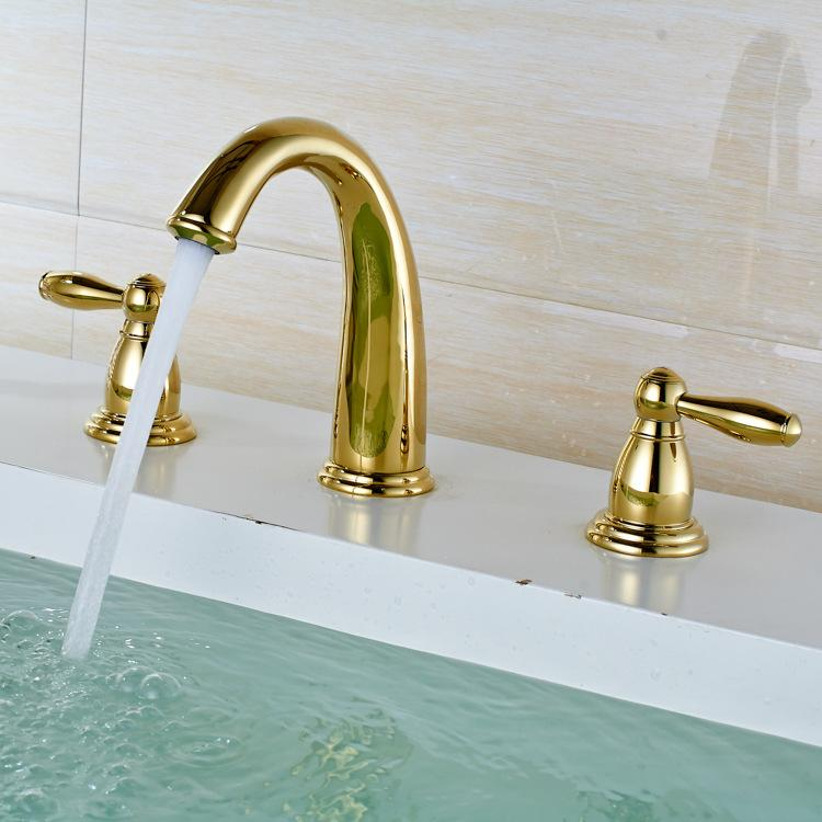 Luxury Golden Brass Bathroom Basin Faucet Dual Handles Swan Sink Mixer Tap Golden Polished Bathroom Basin Faucet 3Pcs Set Bath Faucet