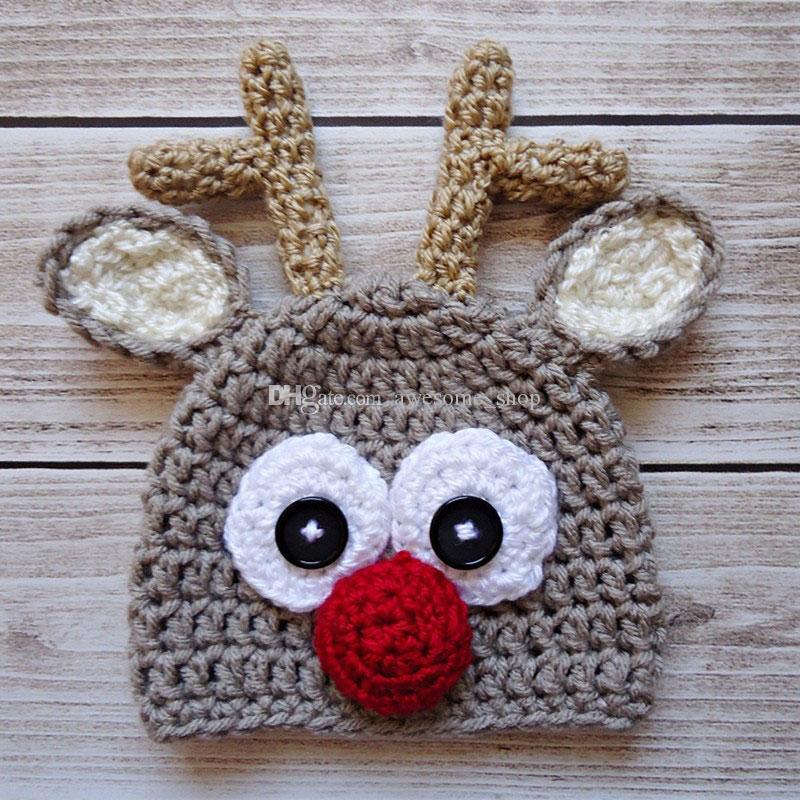 Cappello lavorato a maglia all'uncinetto rosso Rudolph alato, cappello bimbo a forma di renna di Natale, cappello animale, puntello foto bambino