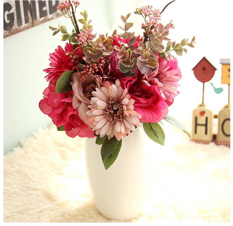 Trasporto libero all'ingrosso di seta artificiale sposa bouquet di fiori gerbera margherite africane ortensia per camera da letto di nozze o decorazione della tavola