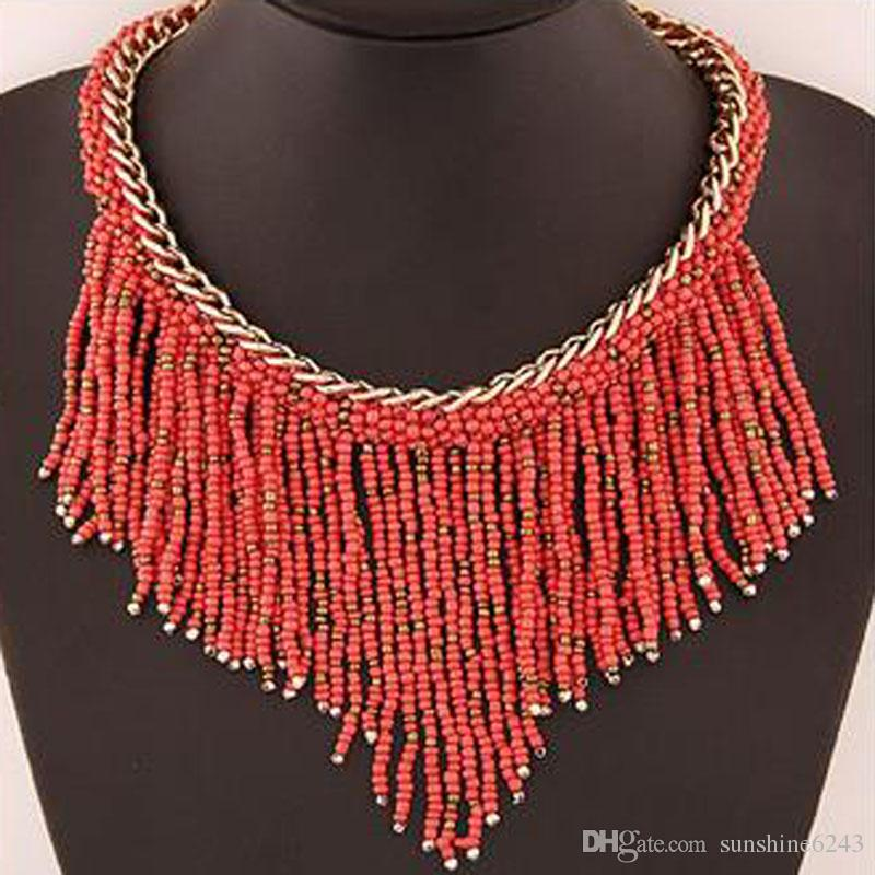 2017 Fashion Jewelry Mujer New Bohemian Necklaces Women Handmade Long Tassel Beads Choker Statement Necklaces free shipping