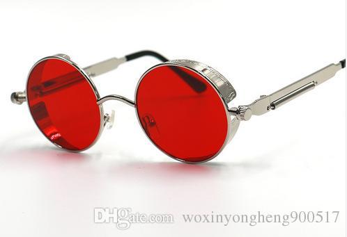النظارات الشمسية النظارات الشمسية المستديرة المعدنية steampunk من الرجال النساء نظارات أزياء العلامة التجارية مصمم ريترو خمر النظارات الشمسية UV400 22 اختيار اللون