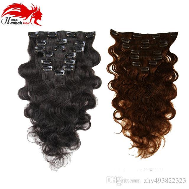 Hannah Clip brésilien en Extensions de Cheveux Humains Body Wave Clip Ins pour les Femmes Noires 7 pièces ensemble Cheveux Brésiliens Clip Dans Extension