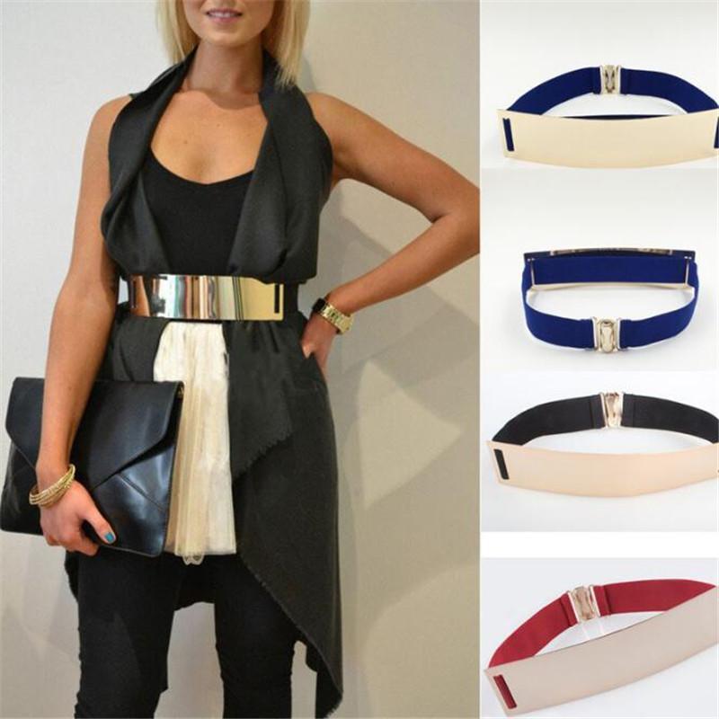 Wide Elastic Belt Fashion Embellished Keeper Designer Belts Women Metal Bling Kim Gold Mirror Wide Elastic Belt Christmas Gift