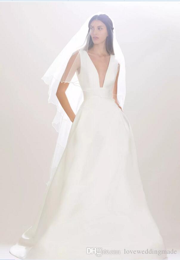 Abiti da sposa vintage semplici in raso con scollo a V, nuovo arrivo senza maniche con scollo a V, maniche corte, abiti da sposa