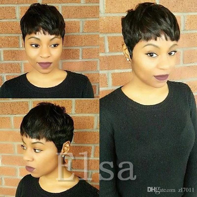 İnsan Saç Rihanna Tam Dantel Kısa Keser Peruk Chic Yumuşak Duygu doğal siyah Hint İnsan Saç Peruk siyah kadın için