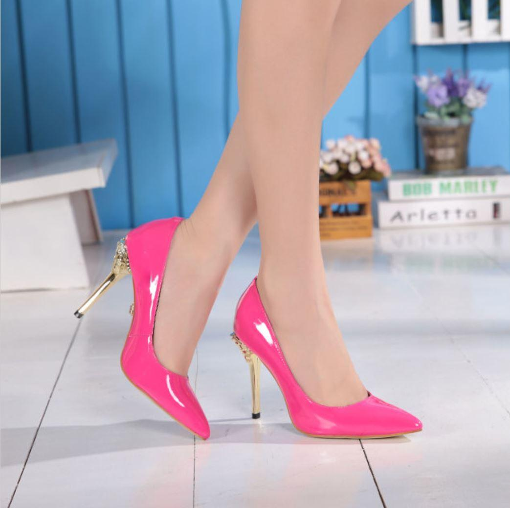 luxury brand women sex high heels fashion pointed toe genuine patent