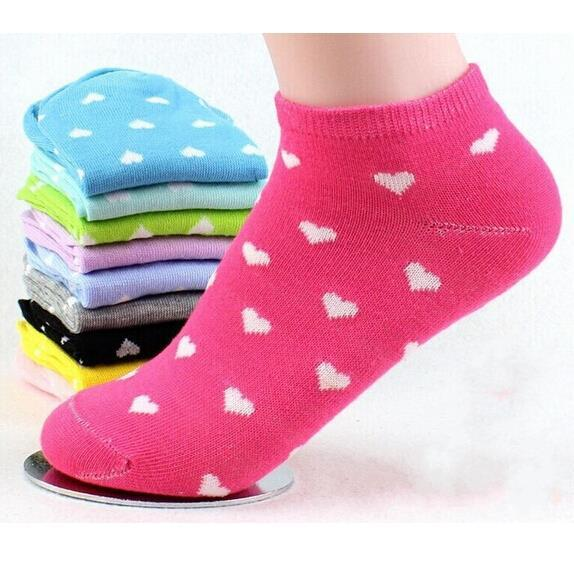 Damen Socken Ankle Boot Short Solid Dot Herz Schöne Süßigkeit Hausschuhe 3856
