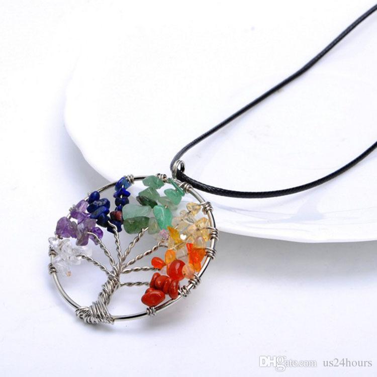7 цветов Древо Жизни Исцеление Кристаллическая Проволока Wrap Натуральный Драгоценный Камень Ожерелье для подарка на день рождения оптовые