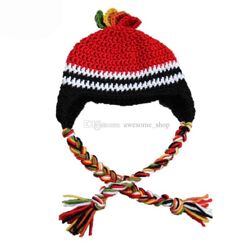 Beau chapeau d'équipe de hockey, chapeau tricoté à la main pour bébé garçon fille rayé Sports Hat, chapeau de ventilateurs, chapeau Earflap, accessoire pour bébé Toddler Photo Prop, cadeaux de douche