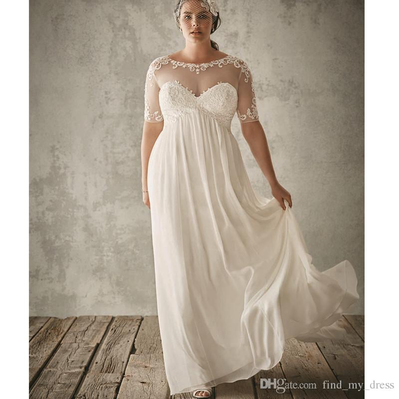 New Sheath Plus Size Wedding Dress Beach Summer Short Sleeve See Through  Princess Romantic Elegant Applique Chiffon Bridal Gown Custom Made Pink ...
