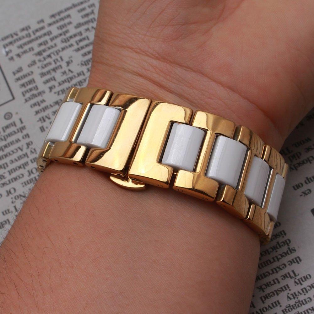 Nuevo negro blanco correa de reloj de cerámica Con acero inoxidable metal dorado correa de reloj pulsera pulsera 14mm 16 mm 18 mm 20 mm 22 mm ajuste reloj inteligente S3