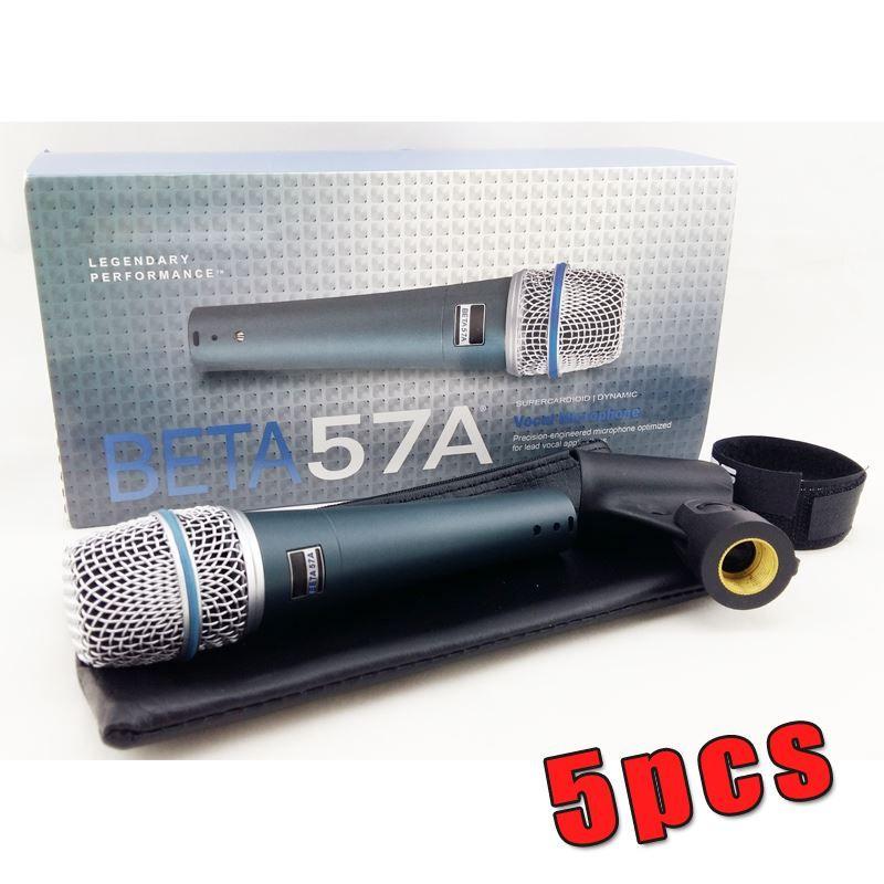 새로운 레이블 !! 5PCS 고품질 버전 베타 57a 보컬 가라오케 핸드 헬드 다이나믹 유선 마이크 Microfone Mike 57 A Mic