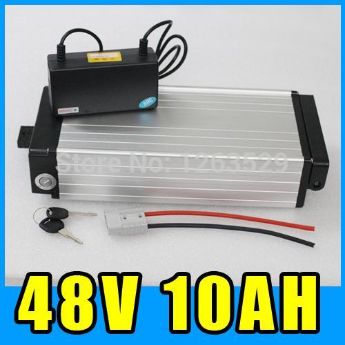 48V 10AH 후면 리튬 배터리, 알루미늄 합금 배터리 팩, 54.6V 전기 자전거 스쿠터 E-자전거 무료 배송 랙