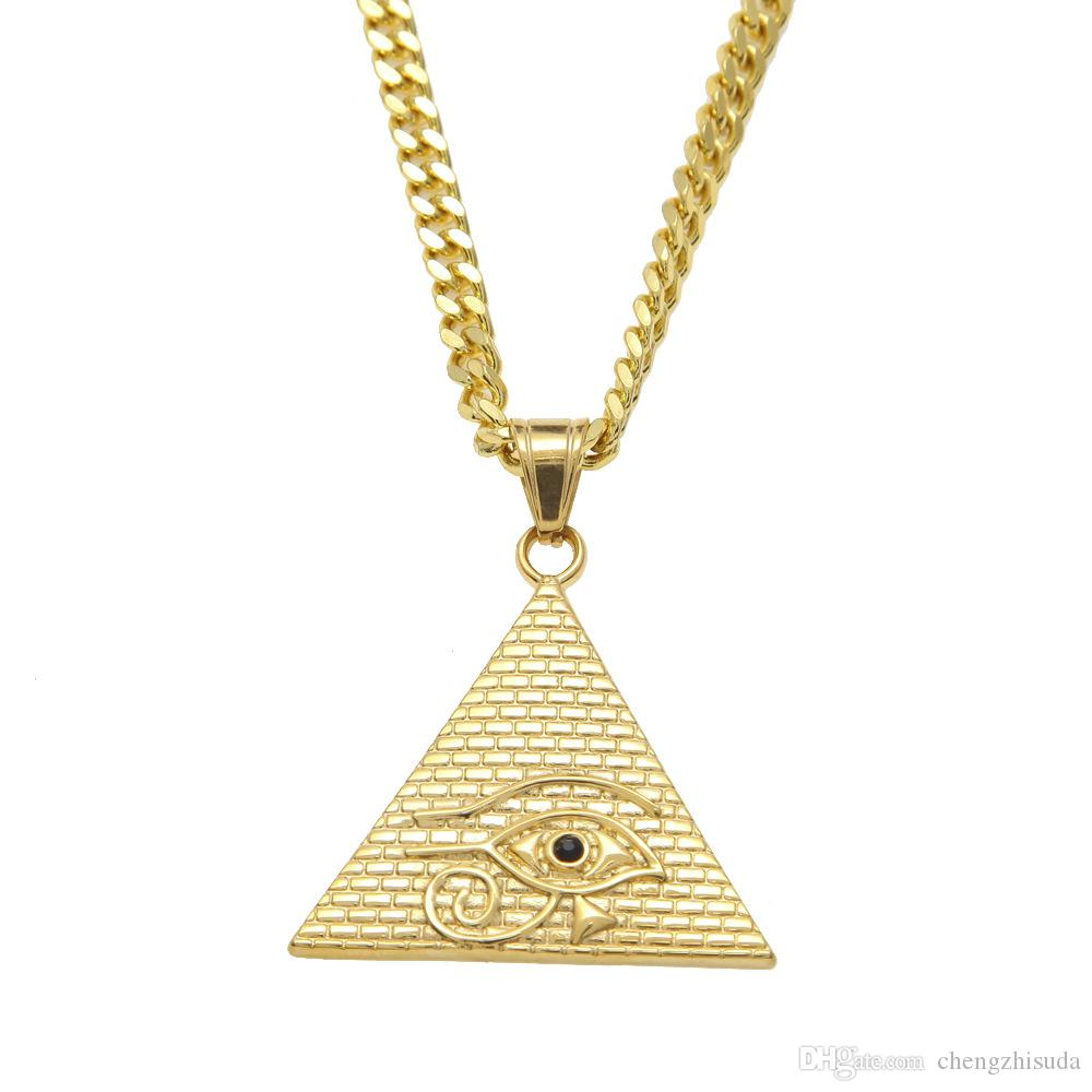 Ancient Egyptian Pyramid Eye Of Horus Pendant Necklace Hip Hop Illuminati Necklace with 27inch Miami Cuban Curb Chain