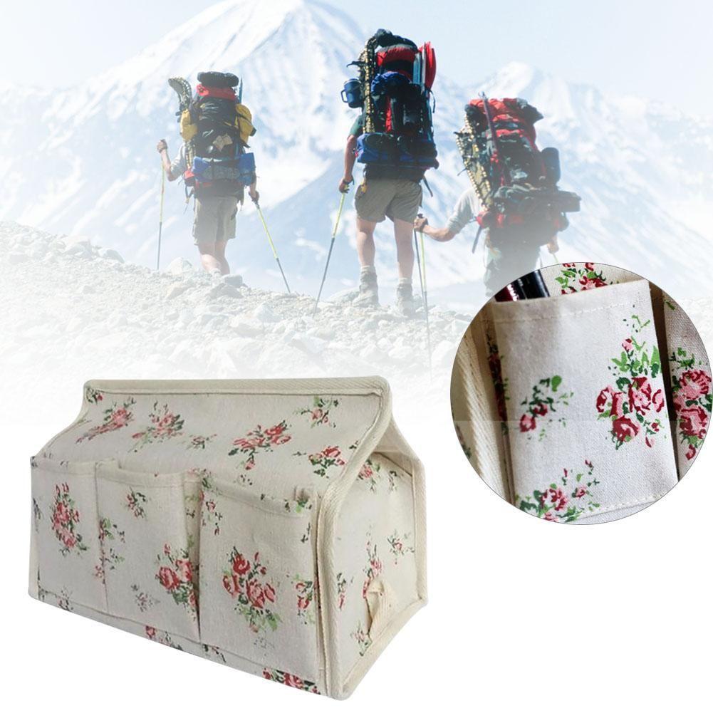 Wholesale- Home Pastoral Floral Tissue Box Case Paper Cover Container Bag Pen Key Pocket PJW