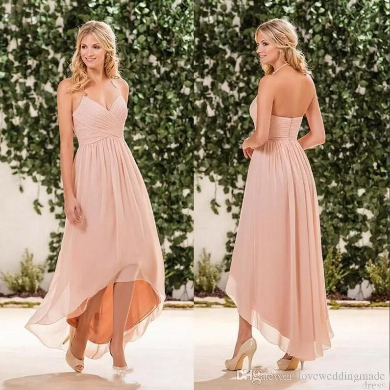 2017 Cheap Beach Peach Pink Bridesmaid Dresses Chiffon Halter High Low  Party Dress Plus Size Maid Of Honor Gowns White Prom Dresses Black Tie  Dresses ...