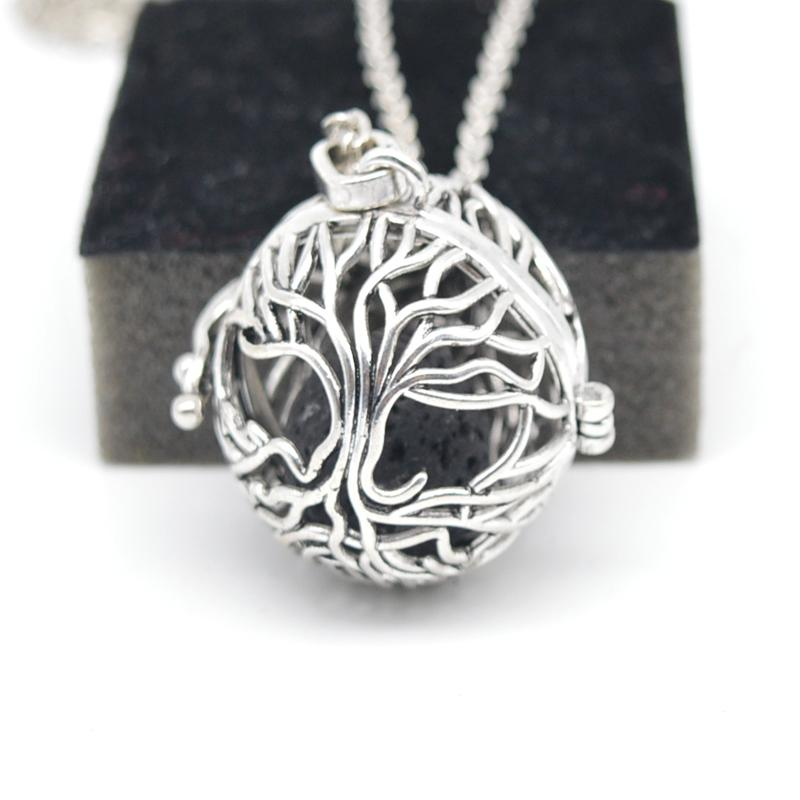Wholesale- Boho Necklace For Women Engelsrufer Necklace Jewelry Essential Oil Diffuser Necklace With Lava Stone Lockets