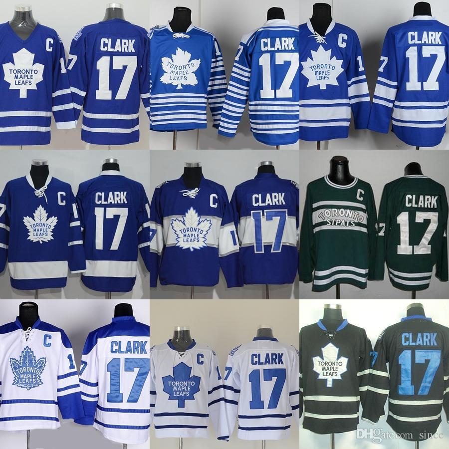 Factory Outlet мужская Toronto Maple Leafs #17 Clark синий белый зеленый черный новые дешевые лучшее качество горячие продажа хоккей Джерси бесплатная доставка