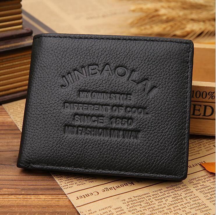 Heißer Verkauf Mode Design Qualität Echtes Leder Männer Geldbörsen Schwarz 3 Gefaltet Klassische Kreditkarteninhaber Münzfach Geldbörse Brieftasche