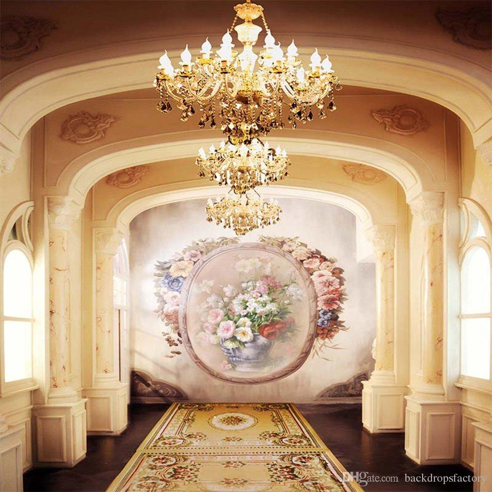 الداخلية القصر كريستال الثريات صور بوث الخلفيات لحفلات الزفاف زهرة الجدار خمر السجاد استوديو التصوير خلفية