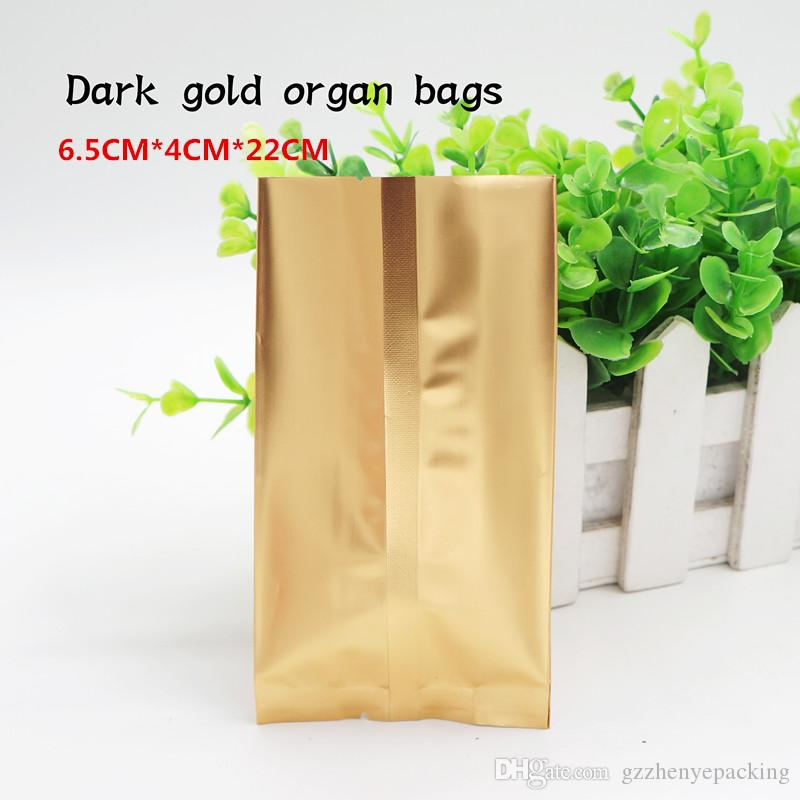 Sacchetto dell'organo della stagnola dell'oro di 6.5 * 4 * 22cm / materiale di qualità alimentare / sacchetti d'imballaggio del fagiolo di caffè bustine di tè. Spot 100 / pacchetto