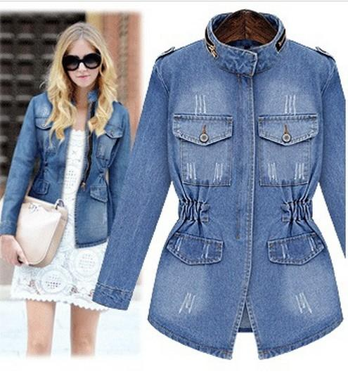 Feminina New Size Outerwear Jacket Jackets Women Wholesale- Slim Women's Zipper Jeans Basic Coat Denim Pockets Coat Large Jaqueta Xxxxl Griv