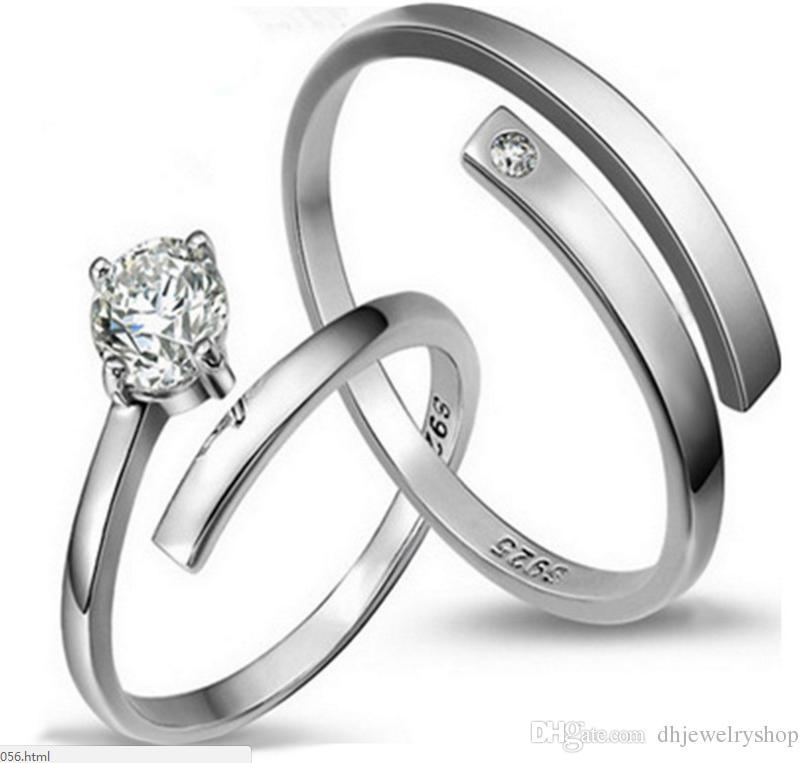 пара романтический день Святого Валентина простой Рождественский подарок свадебные аксессуары 925 Серебряная пара обручальное кольцо юбилей кольца
