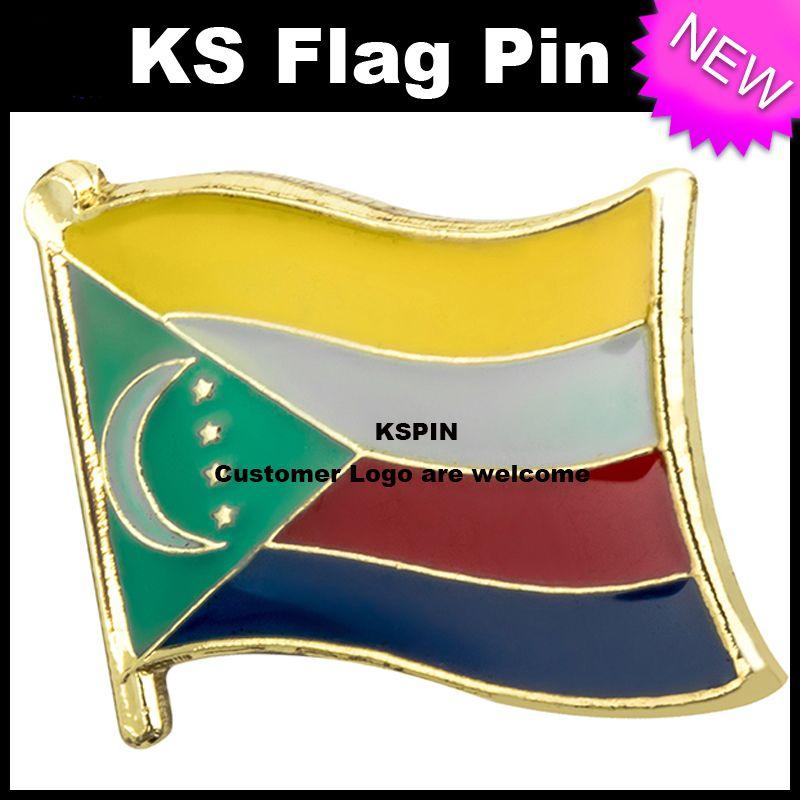 Bandiera delle Comore Bandiera Badge Pin 10pcs molto Spedizione gratuita KS-0092