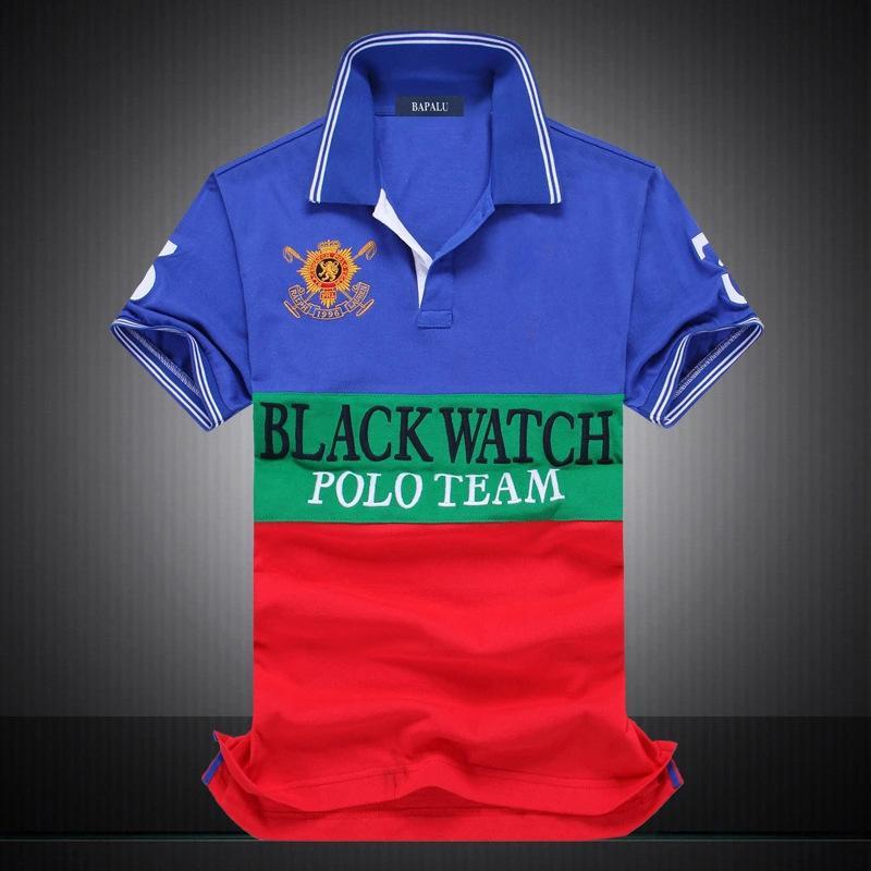 Descuento PoloShirt hombres manga corta camiseta marca polo camisa hombres Dropship barato mejor calidad negra reloj polo equipo # 1419 envío gratuito