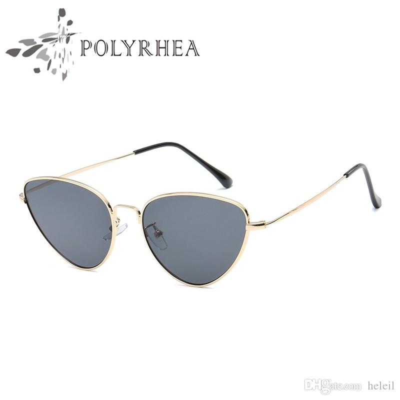 2018 Top Quality Women Cat Eye Sunglasses Fashion Women Brand Designer Sun Glasses Metal Pink Brown Female Mirror UV400 With Box And Cases