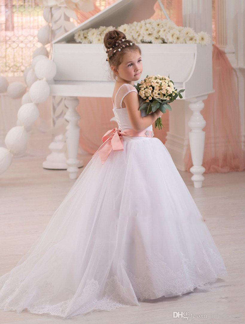 2017 hot scoop vestido branco com faixa rosa puffy princesa dress flor menina vestidos meninas pageant dress meninas aniversário formal party dress
