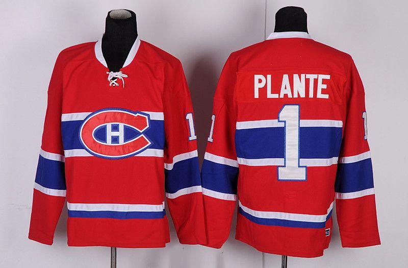 Vintage Canadiens de Montréal Jacques Plante Hockey Maillots Hommes CCM Vintage bas prix Rouge # 1 Jacques Plante Cousu hockey Chemises M-XXXL