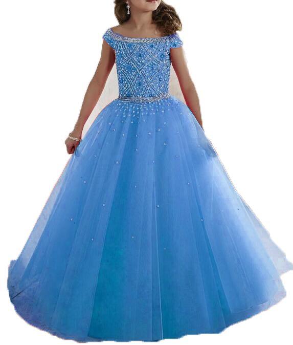 2017 azul claro púrpura vestido de bola niñas desfile vestidos de comunión para niñas con rebordear vestido de niña de las flores niños vestidos de noche de baile