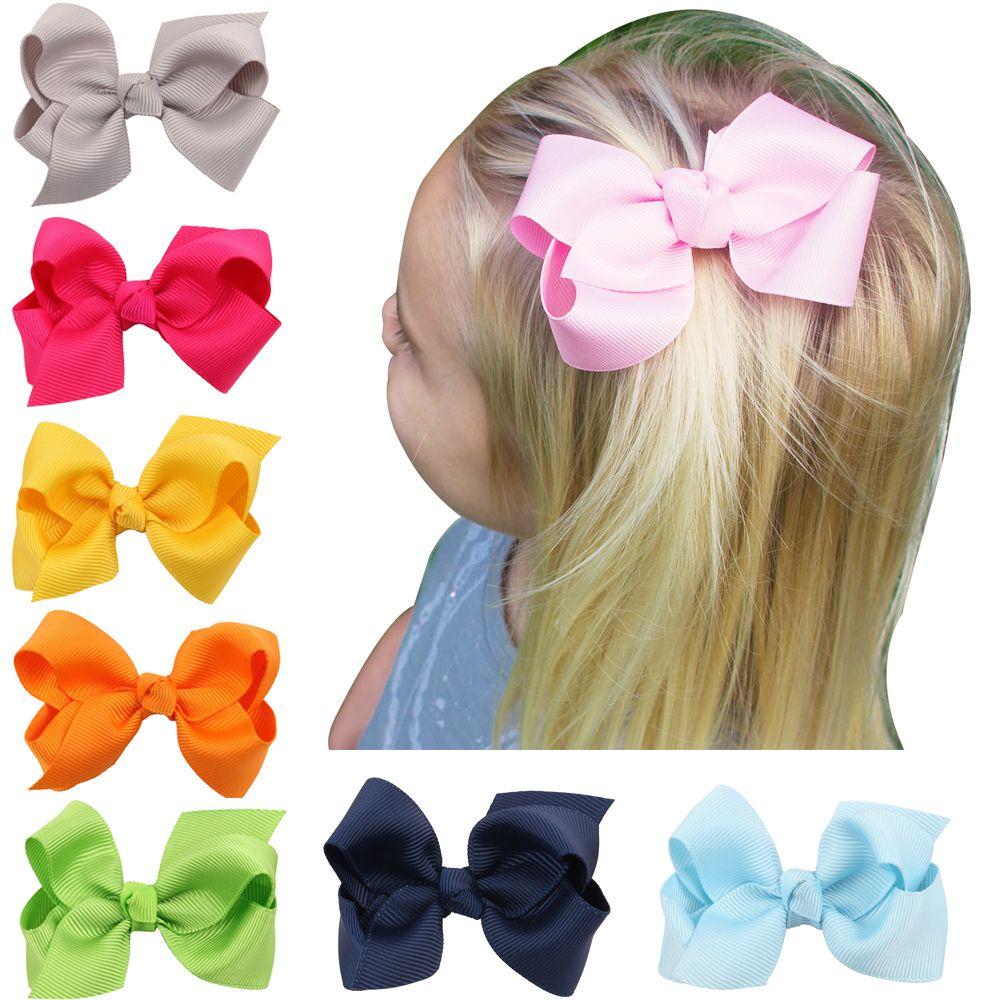 20pcs 3 INCH coréenne ruban gros-grain hairbows bébé Accessoires avec clip Boutique Bows cheveux Barrettes Ornements cheveux HD3201