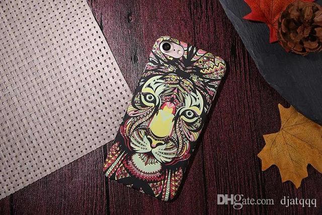 Luminous Embossed For Coque iPhone 7 Case Elephant Tiger Cat PC Funda Case For iPhone 7 6 6S Plus 5S SE Capinhas Hard PC Cover